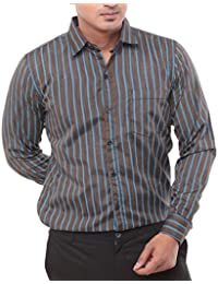 Twist Men's Regular Fit Full Sleeves Formal Shirts Brown With Sky Blue Stripes Lines