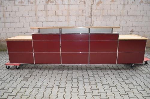 Empfangstheke/ Verkaufstheke, 400x77/110cm, Rot/Chrom/Buche, Vorderseite verblendet
