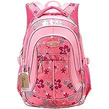 Bcony Dulce flor algodón mochilas escolares / bolsas escolares/mochila niñas adolescentes,Rosa