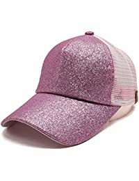 f74eca2a649 ... 2018 new womens adjustable uv protection ponytail baseball cap sequins  shiny messy bun snapback purchase supreme ss15 new york yankees 47 brand  crusher ...