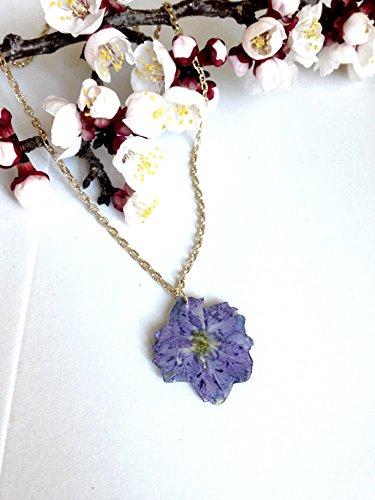 Collana girocollo, ciondolo fiori veri viola resina vetrificata, catenella ottone, brillante, charms - Resina Charm