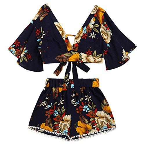 Zwei Stück Einstellen Bademode HARRYSTORE Womens Casual Botanische Print Sommer V Kragen Top Bandage T-shirt Shorts Beachwear (Schwarz, M) (Lady Schaufensterpuppe)