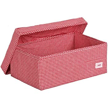 Minene Large Storage Box With Lid Red Gingham   Storage Box, Large Fabric  Storage Box