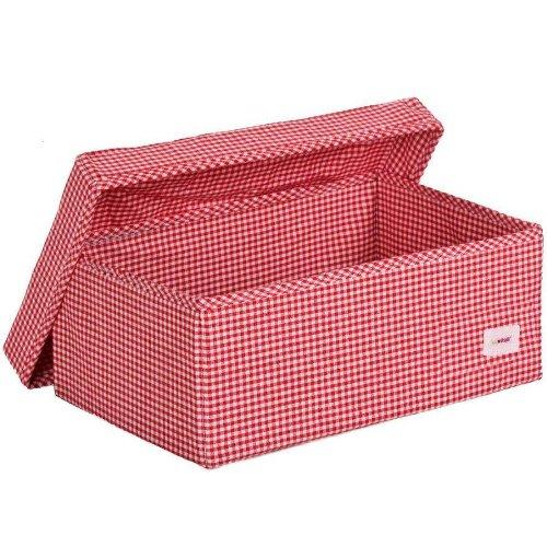Minene - Scatola da collocare sotto il letto, colore: Rosso a quadretti