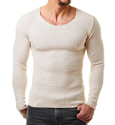 EightyFive Herren Strick-Pullover Feinstrick Schwarz Weiß Anthrazit Grau EF1402, Größe:M, Farbe:Beige