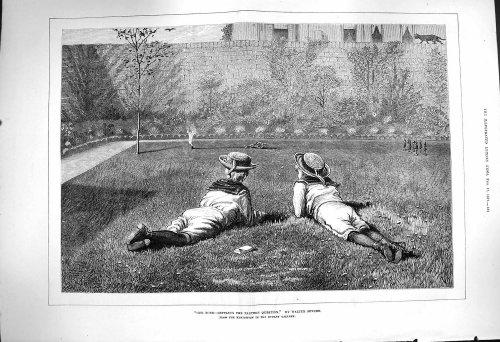 1877 Notre Jardin Privé Walter Severn d'Écoliers [Cuisine et Maison] par original old antique victorian print