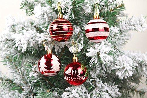 ZNME66 24 Stück Weihnachtskugeln Box Christbaumschmuck aus Kunststoff bis 6 cm Glänzend Glitzernd Weihnachten Deko Anhänger, Rot und Weiß (Rot)