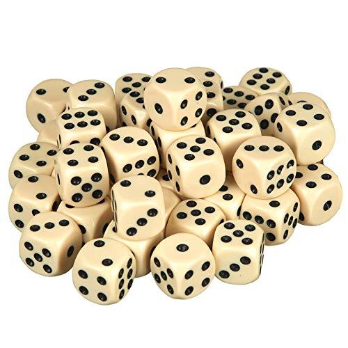 Scarlet Play | Würfelset »Casino 50« mit 50 Stück im Stoffbeutel; in Standardgröße für 6-seitige Würfel von 16 mm; Spielen wie im Kasino (Elfenbein)