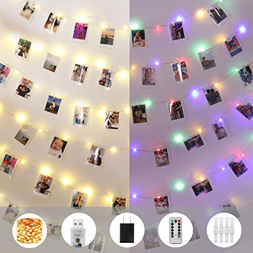 Innotree LED Foto Clip Lichterketten für Zimmer, 100 LED 10M USB Fotolichterkette mit 50 Klammern Bilderrahmen collagen Deko für innen, Weihnachten, Hochzeit, Schlafzimmer, Dekoration Wohnung Modern -