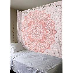 Labhanshi - Telo decorativo, grande, con mandala indiano, color oro rosa, stile hippie bohemien, perfetto come arazzo da appendere e come copriletto