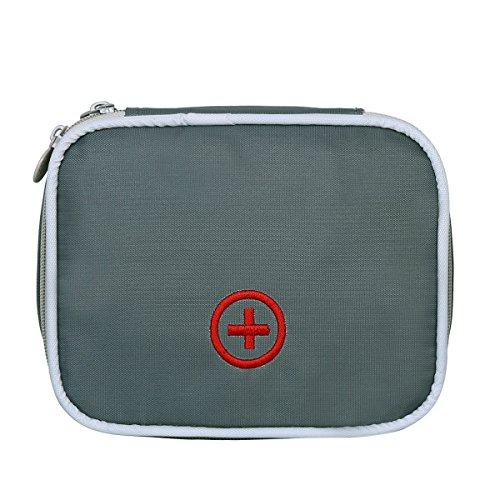 Eshow Oxford Gewebe Medizintasche für Notfälle Betreuertasche Reiseapotheke Tasche Erste Hilfe Set Medizinkoffer Sanitätstasche Grau (Notfall-tasche)