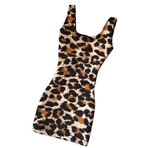 Unbekannt Homyl 1/6 Damen Pop Leopard Design Kleidung für 12 Zoll Action Figur (Dress Stehen Kleidung Up)