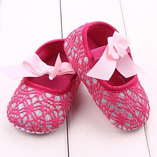 Hunpta Neue Baby jungen Mädchen Glitter Baby Schuhe Sneaker Anti-Rutsch weiche Sohle Kleinkind (13, Weiß) Hot Pink