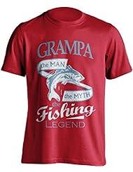 """Grandpa 'pesca–Camiseta Grampa, el Man, The Myth, de la leyenda """"Pesca De Pesca Camiseta–idea de regalo para Grand Dad en su cumpleaños, Regalo de Navidad o día del padre., rojo"""