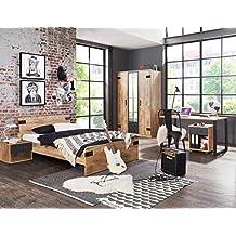 lifestyle4living jugendzimmer komplett set in plankeneiche dekor und graphit 3 teilig fur