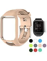 TUSITA WristBand for TomTom Runner 2 3/Spark/Spark 3/Golfer 2/Adventurer, Replacement Silicone Band Strap Accessory (Khaki)