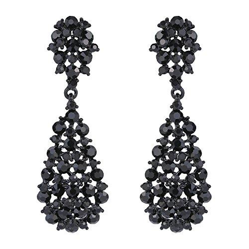 EVER FAITH Damenösterreichischen Kristall Art Deco Vintage Stil Dangle Pierced Ohrringe schwarz schwarz-Ton