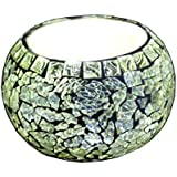MVEE Home Decorative Glass Crackle Mosaic Votive Tea Light Candle Holder