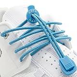 No Label Race Lace Elastische Sport Schnürsenkel - Schnellverschluss + Schnellschnürsystem | Komfort, Halt + Zeit Sparen mit Profischnürsenkel für Sportschuhe | Ideal Für Kinder & Erwachsene Blau