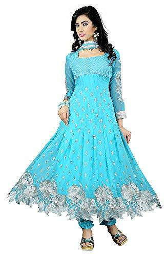 Sky Blue Kameez Designed Salwar Suits for women&Girls anarkali Pattern.