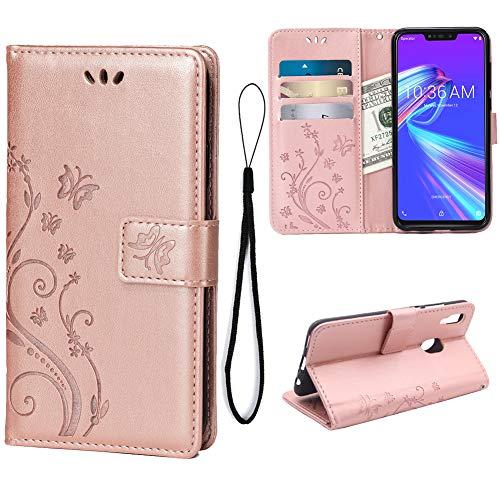 Teebo Brieftasche Hülle für Asus Zenfone Max(M2) ZB633KL, 3 Kartenhalter Prägen Schmetterling Blume PU Leder Magnetisch Bookstyle Klapphülle für Asus Zenfone Max(M2) ZB633KL(Rose Gold)