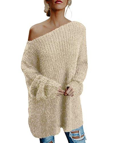 Minetom Femme Hiver Manches Longues Col Haut Côtelée Pull Chaud Sweater Tricotés Pullover Beige FR 42