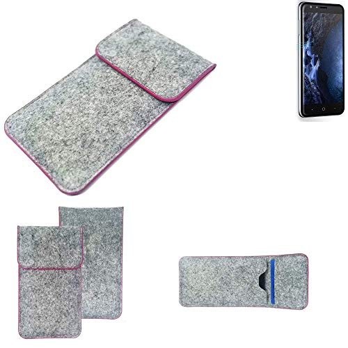 K-S-Trade® Filz Schutz Hülle Für -Doogee Y6 4G- Schutzhülle Filztasche Pouch Tasche Case Sleeve Handyhülle Filzhülle Hellgrau Pinker Rand