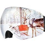 OMORC Maschera da Sci, Occhiali da Sci Snowboard Lente Sferica Doppio Strato Super-Grandangolo Anti-Nebbia Anti-Vento Protezione UV 400, per Sci Snowboard e Sport Invernali, per Donna e Uomo, Grigio