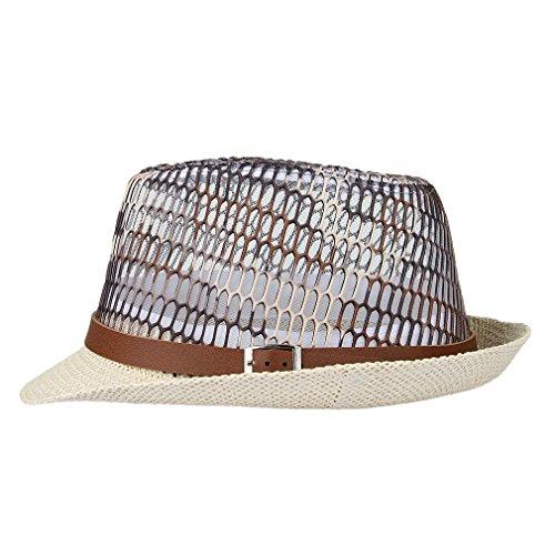 GEMVIE Chapeau Panama Fedora Trilby Voyage Style Anglais Femme Homme Été Brun