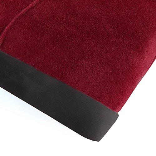 VogueZone009 Donna Alta Altezza Tirare Plastica Tacco Alto Punta Tonda Stivali Rosso