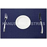 """Kanushi Industries Placemats Set Of 6 Heat-Resistant 18"""" X 12"""" PVC Placemats For Dining Table Woven Vinyl Stain Resistant Table Mats Easy To Clean (Blue)"""