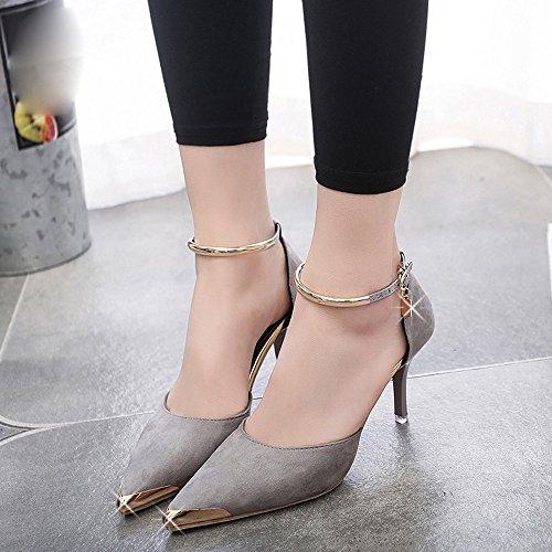 Kingko® Frauen spitzen Zeh Gürtelschnalle Strap High Heels Sexy Style Schuhe Hochzeit Schuhe Schwarz Grau Rot Gray