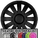 Eight Tec Handelsagentur (Farbe & Größe wählbar!) 15 Zoll Radkappen AGAT (Schwarz matt) passend für Fast alle Fahrzeugtypen (universal)