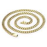 Collar de cadena de oro de 14K 9MM diamante corte Miami cubano estilo de vínculo Real sólido cierre los bordes c/redondeos (24)