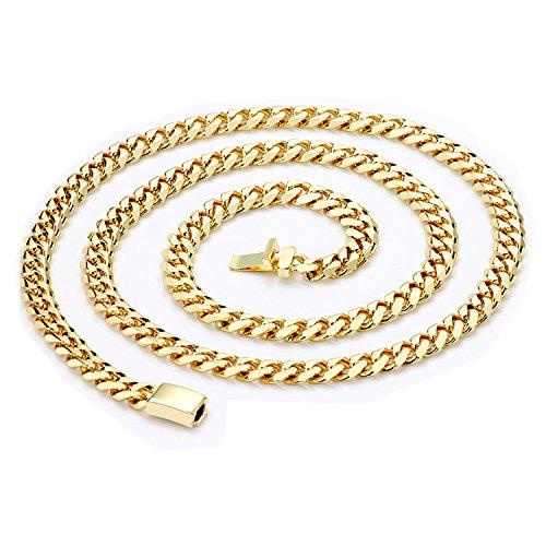Goldkette 9MM Diamond Cut Miami kubanischen Link Stil echte Solid Verschluss w/runden Kanten (24) ()