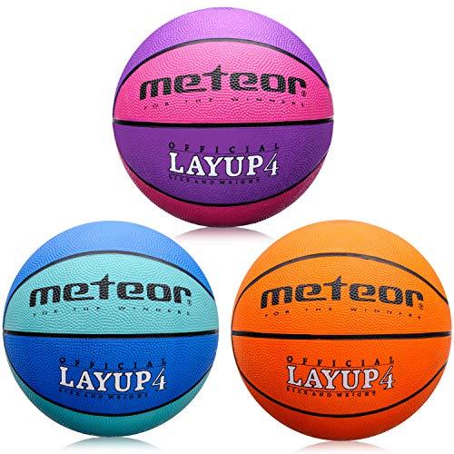 meteor® Kinder Jugend Basketball Layup - Größe #4 Basketball ideal auf die Kinderhände 5-10 Jahre idealer Mini Basketball für Ausbildung - weicher Kinder Basketball Outdoor mit griffiger Oberfläche