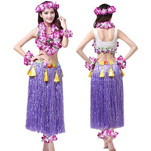 G-like Hula Tanz Kleid Kostüm - Hawaii Tanzkleid Grasrock Zubehör Sexy Outfit Kleidung Set Verzierung Quasten Blumen Party Cosplay Maskerade Strandurlaub für Damen Mädchen - Kunststoff 8 In 1 (Lila)