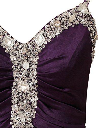 Dresstells, Robe de soirée Robe de cérémonie Robe de gala en satin emperlée bretelles spaghetti col en cœur Pourpre