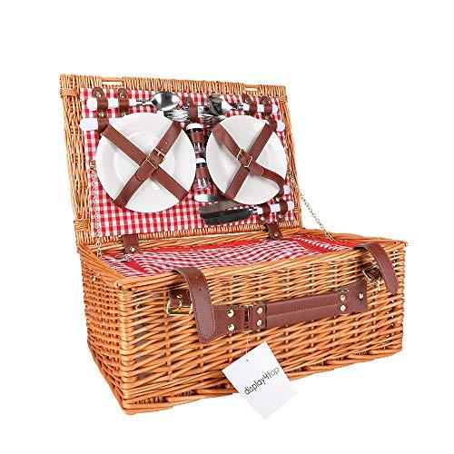 Display4top Cesta de Picnic de Mimbre Tradicional para 4 Personas Deluxe Cesto de Mimbre - Juego Premium con Platos, Copas de Vino, Cubiertos y servilletas (Rosa)