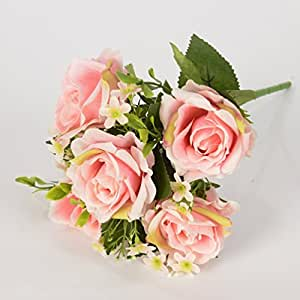 5 Ast da Bouquet di fiori in seta artificiale rosa con piccoli fiori per Natale Decor Rose