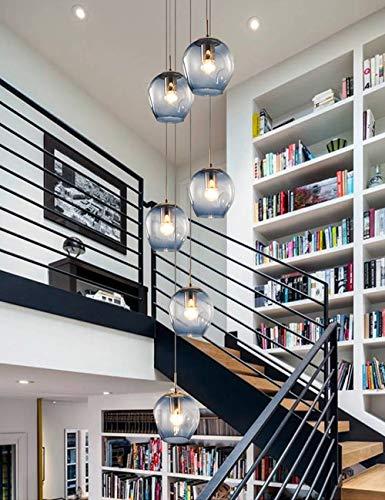 6 Glaskugeln, die Treppen lange Kronleuchter blau Duplex Gebäude große Kronleuchter Wohnzimmer Villa Hohl moderne einfache Treppe Pendelleuchte 45x150 cm