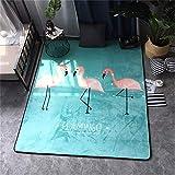GRENSS Mode skandinavischen Flamingo Blau Wohnzimmer Schlafzimmer dekorativen Teppich Teppich Boden im Badezimmer Tür Yoga Baby Spielen Kriechen Matte, Flamingo, 78 x 185 cm 31 x 73 Zoll