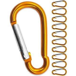 Outdoor Saxx® - 10 Stück orange Aluminium S-Karabiner 4,0cm   zur Befestigung von Ausrüstung am Rucksack, Gürtel, Zelt, Kanu   orange, 10er Set