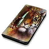 Hülle Galaxy S5 / S5 Neo Hülle Samsung S5 / S5 Neo Schutzhülle Handyhülle Flip Cover Case Samsung Galaxy S5 / S5 Neo (OM1040 Löwe / Tiger / Schmetterling Braun Bunt)
