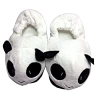 DIMDIM Cute Panda Home Slippers in Winter Coral Velvet Upper & Anti-Skip Outsole ONE Size 38-40 (Color : Black, Size : L(38-40))