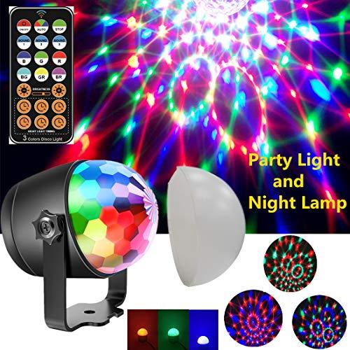 Discokugel Party Licht Disco Beleuchtung Projektor Lampe Nacht DJ 7 Farbe Bmodes Lichteffekte für Weihnachten Kinder Geburtstag Hochzeit