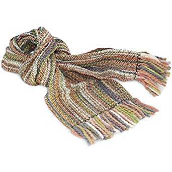 Men's and Women's Winter Striped extra long and large very soft Scarf, Alpaca Wool Luxurious, Pastel Colours - Fair trade and hand-woven in Ecuador, available in a range of colours