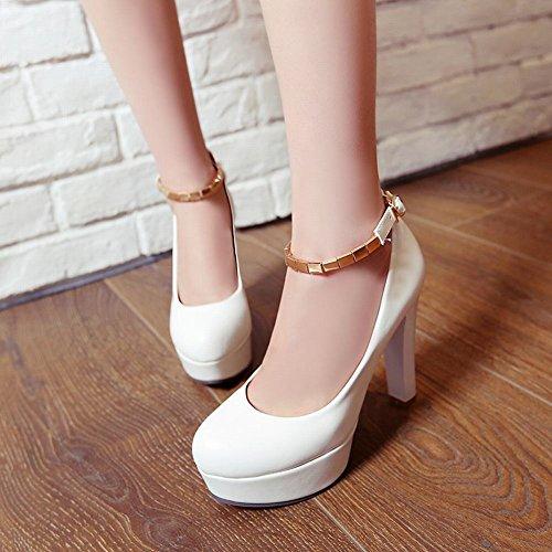 Mee Shoes Damen high heels Plateau Ankle strap Pumps Weiß