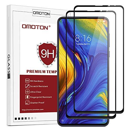 OMOTON Protector Pantalla Xiaomi Mi Mix 3 Protector de Pantalla Xiaomi Mi Mix 3 Cristal Templado Xiaomi Mi Mix 3, 2.5D Borde, Cobertura Completa, Anti-Burbujas, con Bordes Negros [2 Piezas]