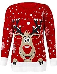 BaZhaHei-Navidad, Patrones de Renos de Jersey navideño para Mujer Punto Floral Imprimir Blusa para Mujer del Blusa de Mujer del Jersey de Manga Larga con Estampado de Alce para Mujer